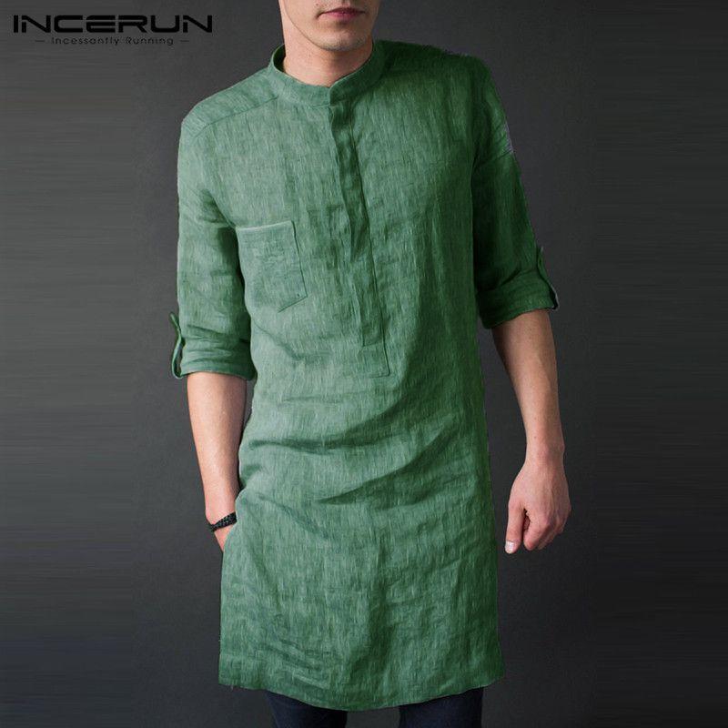 Camicia Uomo all'ingrosso a maniche lunghe stand Collar Pullover solido casuale allentato camice lunghe epoca uomini Camisa indiano Kurta Suit 2019