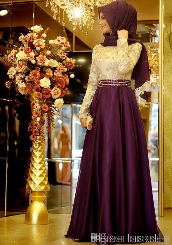 Modest Muslim Evening Dress With Long Sleeves Plus Size High Nexk Appliques Beaded Arabic Formal Prom Party Gowns Dresses Evening Wear