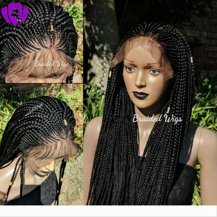 Auf schwarz braun blond Synthetic Geflochtene Lace Front Perücken für schwarze Frauen hitzebeständige volle Braid Perücken Premium-Geflochtene Box Zöpfe Perücke