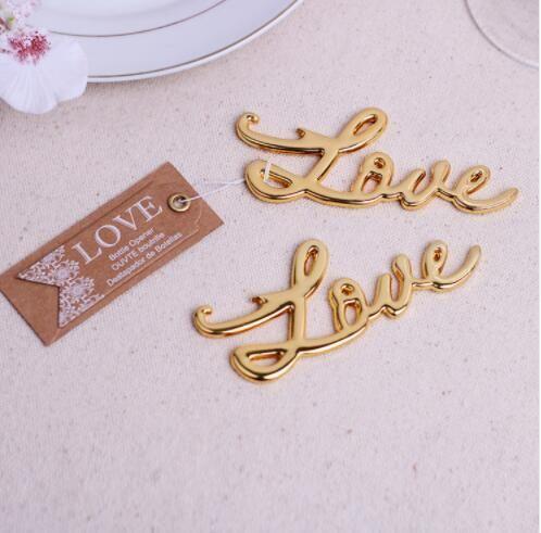 Frete grátis 200pcs / lote quente ouro amor abridor de garrafa para festa de casamento favores de metal vintage presentes de casamento para hóspedes + cartão