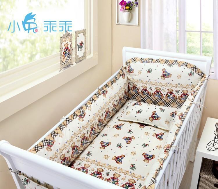 Promozione! 6PCS culla kit di biancheria da letto in cotone 100% del presepe 100% lettino cotone attorno, includere (bumper + foglio di + copertura del cuscino)