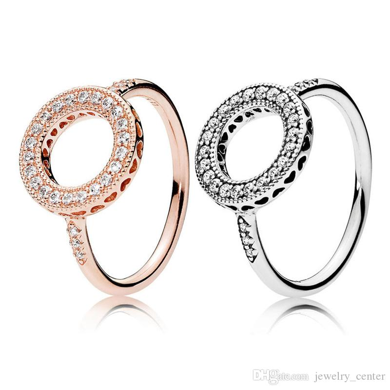 Authentic 925 Sterling Silver Wedding Ring Original Box for Pandora 18K rose gold plated Sparkling Halo Rings set for Women Girls Gift