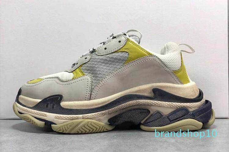 Uomini Donne Coppie 17fw delle scarpe da tennis casuali di modo di papà scarpe da ginnastica L'aumento di cuoio della scarpa da tennis Beige LTS Triple S Chaussures