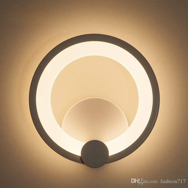 Led Wall Light Bright Round Wall Light Wall Mounted Living Room Bedroom Lamp Wall Fixtures Home Garden