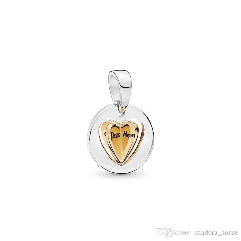 2019 Fête des Mères Authentique Véritable Argent Sterling 925 Pandora Shine Maman Golde Charms Charmes Européens Perles Fit Pandora Bracelet Bijoux DIY