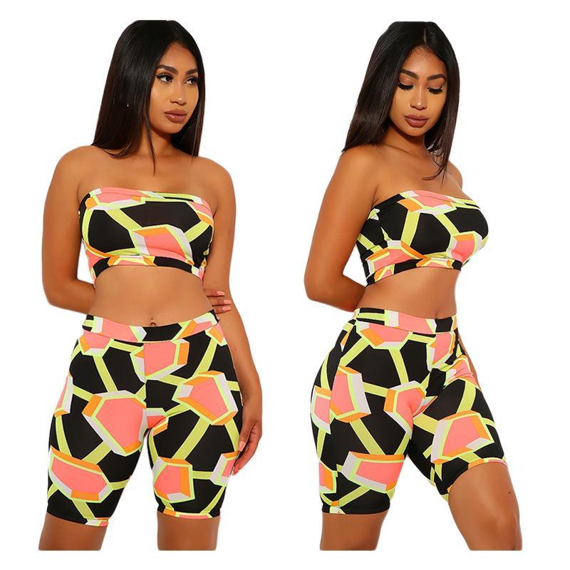 Donne Sport insieme a due pezzi geometrica senza spalline Crop Tops ginocchio lunghezza Jogger pantaloni della tuta del vestito della tuta abbinabili Outfit