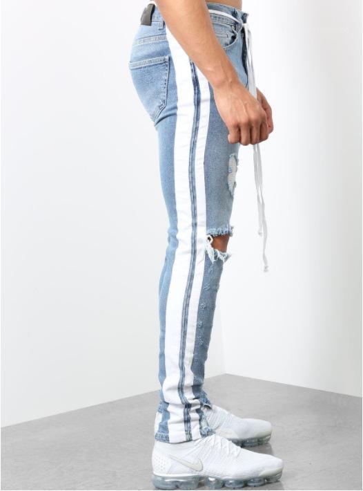 Designer Jeans Primavera a righe strappato Zipper Biker Jean pantaloni Fori Mens di primavera