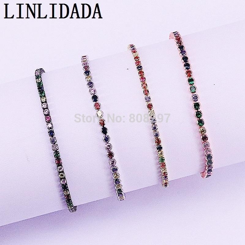 20pcs fascino micro pavimenta multi-color cz zircone braccialetto a maglia regolabile per monili che fanno Y19051101