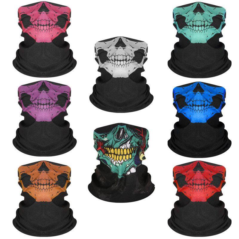 Máscara de ciclismo de turbante mágico multifuncional inconsútil Halloween accesorios de halloween calavera cuello colorido pañuelo pañuelo portátil Portable Portable A07