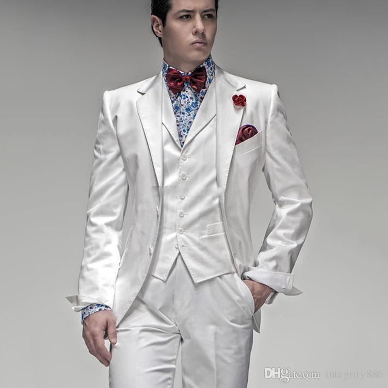 Smoking dello sposo bianco Notch Risvolto degli uomini Smoking da smoking Uomini eccellenti Affari Dinner Prom Blazer Vestito 3 pezzi (Jacket + Pants + Tie + Vest) 1170