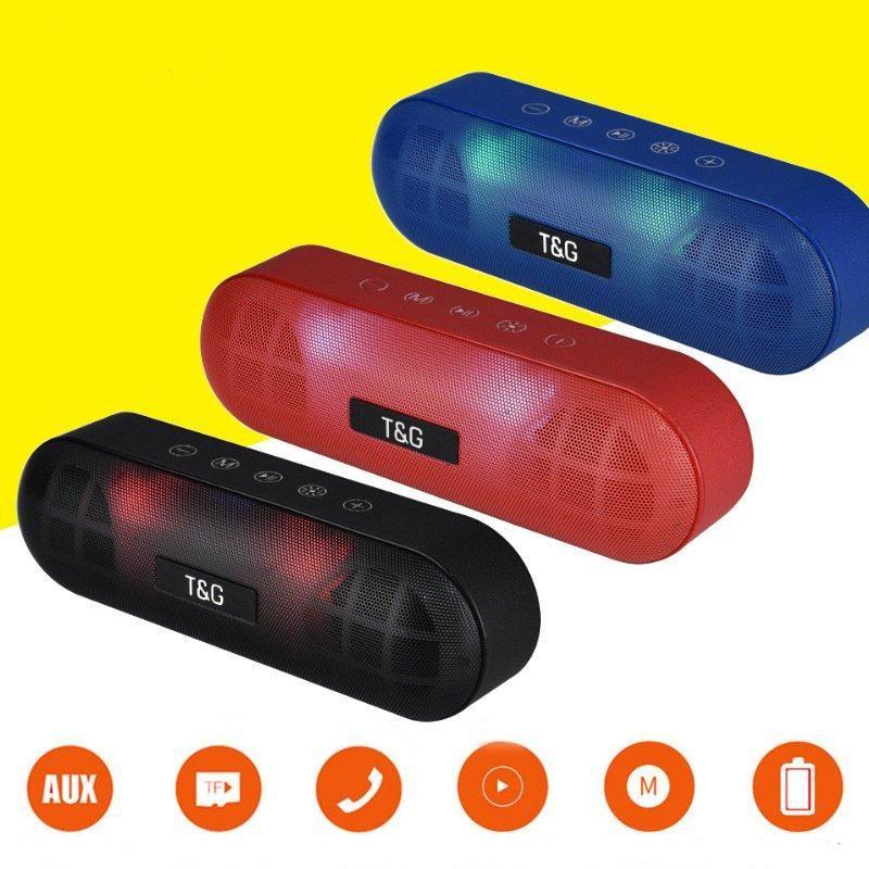 Speaker LED TG148 Bluetooth ao ar livre do metal portátil estéreo Super Bass sem fio alto-falante 3D Música Surround Com Mic FM TFcard Aux