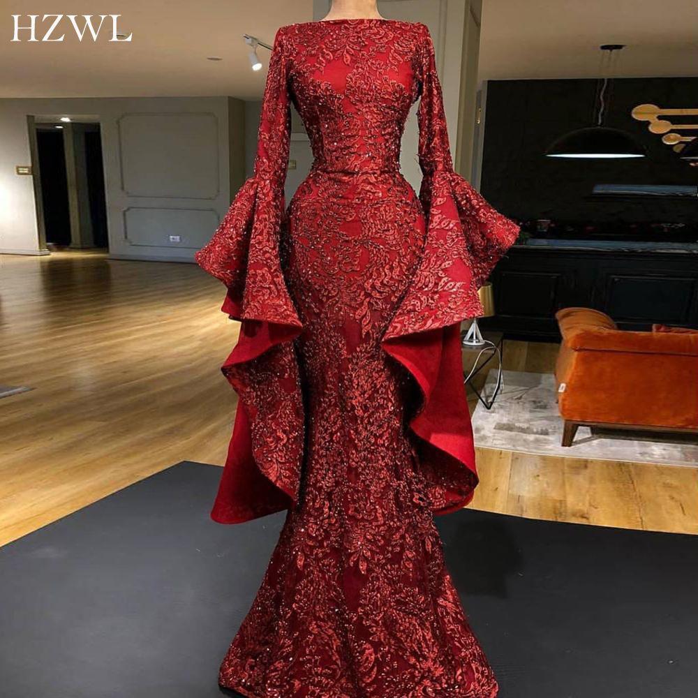 Luxe Flare manches rouge foncé Applique Paillettes dentelle Dubai robes de soirée longue Étincelle sirène robe de bal 2020 robe de soirée
