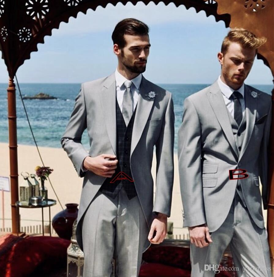 Gray Groom Tuxedos Groomsmen Tailcoat 2 Style Best man Peak Lapel Men's Wedding Suits (Jacket+Pants+Tie+Vest)