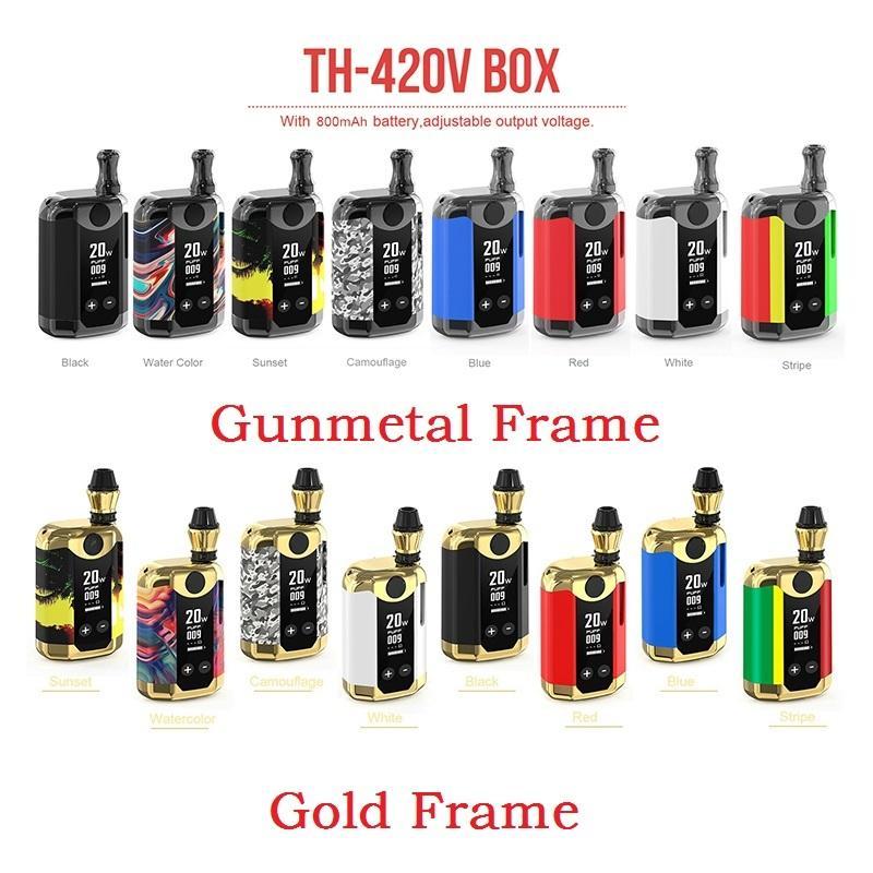 Authentic KangVape Th-420 V Box Kit 800mAh Variável Variável Wattage Pré-aqueça VV Bateria Mod 0.5ml Cartucho de Óleo Grosso Genuíno