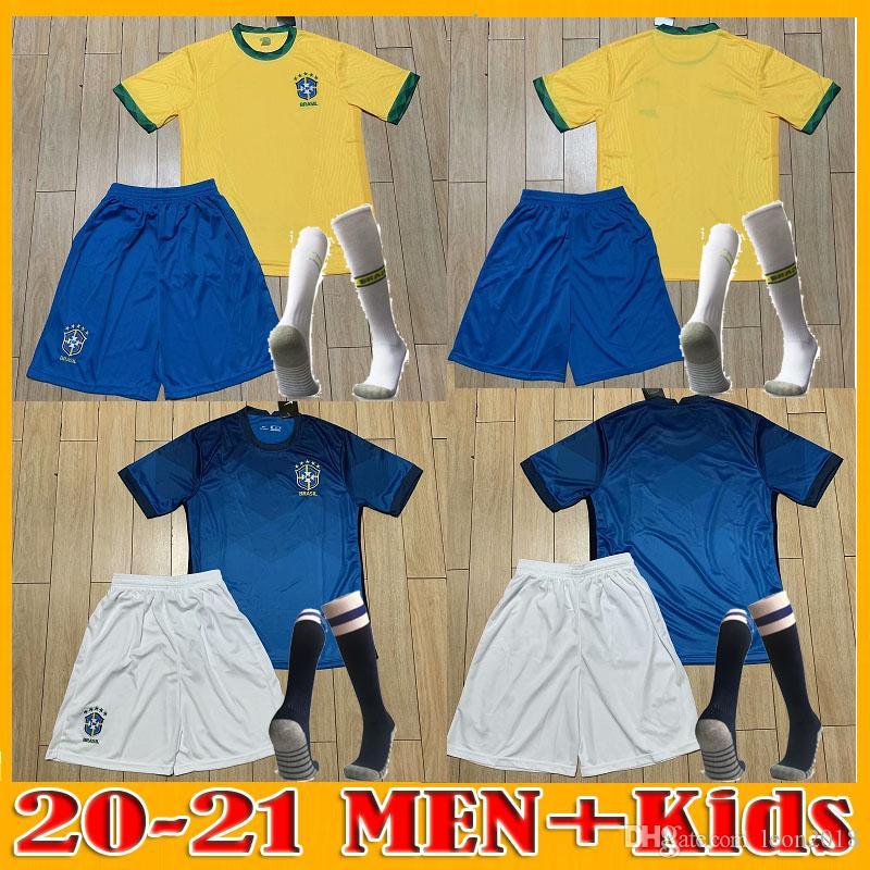 figli adulti kit 20 21 American Cup Brasile maglia da calcio G.JESUS 2020 2021 COUTINHO FIRMINO MARCELO uomini giovani Brasil calcio maglie Camicia