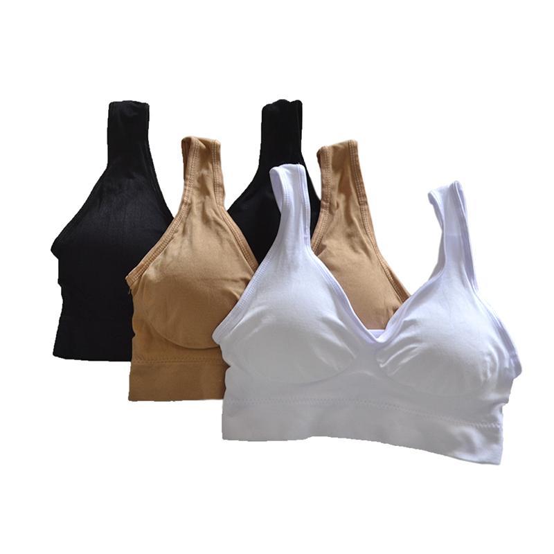 S-5XL 3pcs/set sexy active bra With removable Pad Seamless push up women plus size underwear wireless fitness body shape Bra T200416