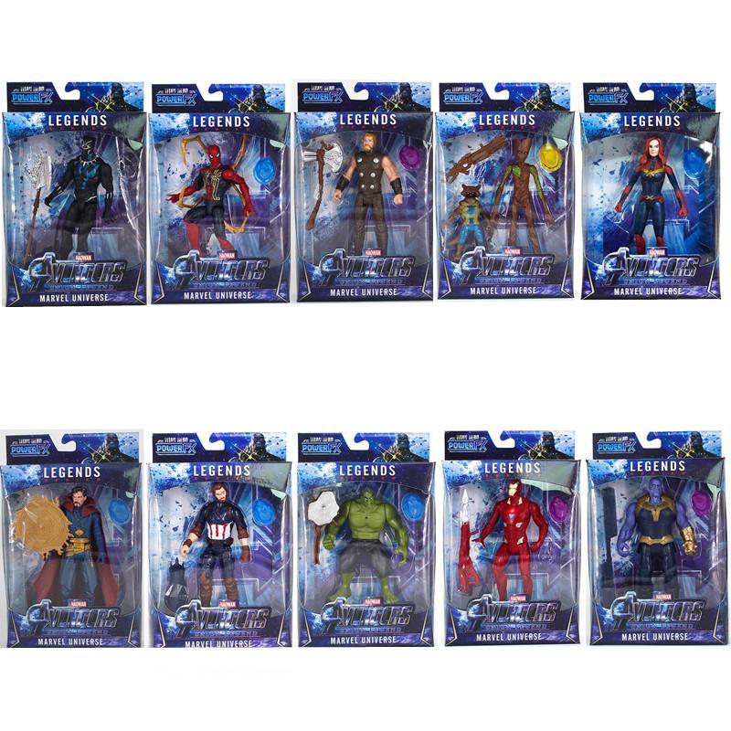 10 стили Марвел Мстители игрушки фигурка со светодиодной Капитан Америка супергерой Бэтмен фигурку коллекционная модель куклы