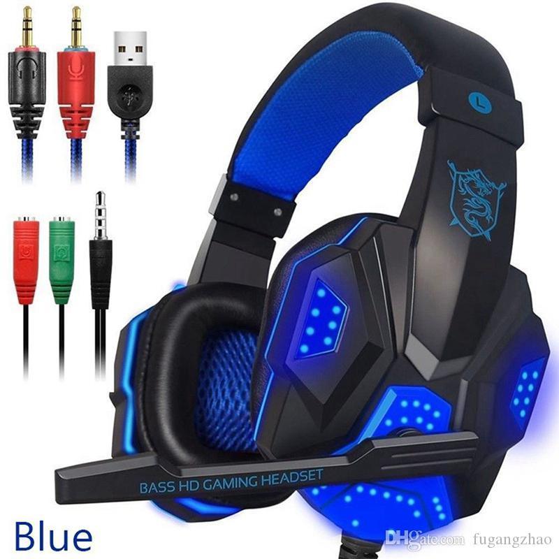 Casque de jeu Casque câblé Écouteurs Stéréo Son stéréo sur l'oreille Écouteurs à oreilles avec micro et lumière LED pour ordinateurs