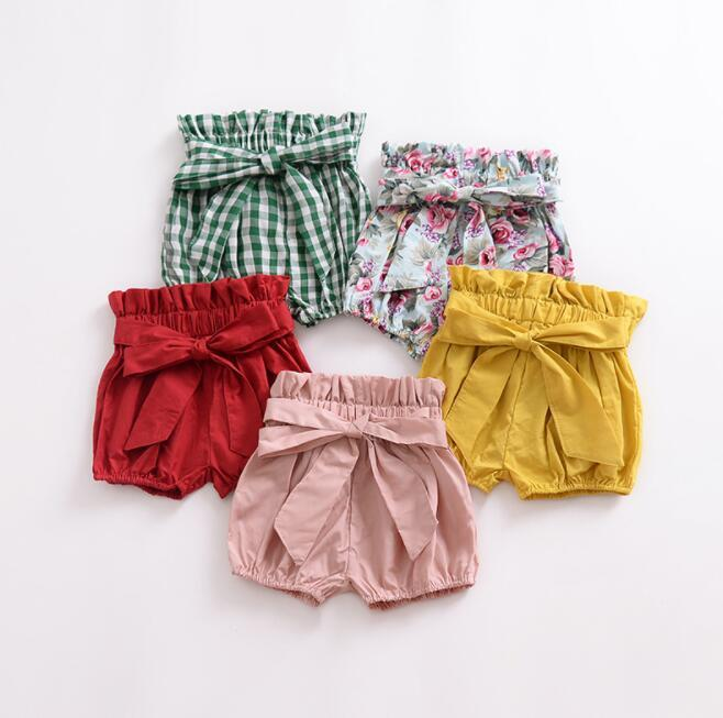 Calças PP Marca Da Criança Do Bebê Meninas Meninos Verão Shorts Casuais Elástico de Cintura Alta Sólida Xadrez Floral Impressão crianças roupas de grife meninas BY0971