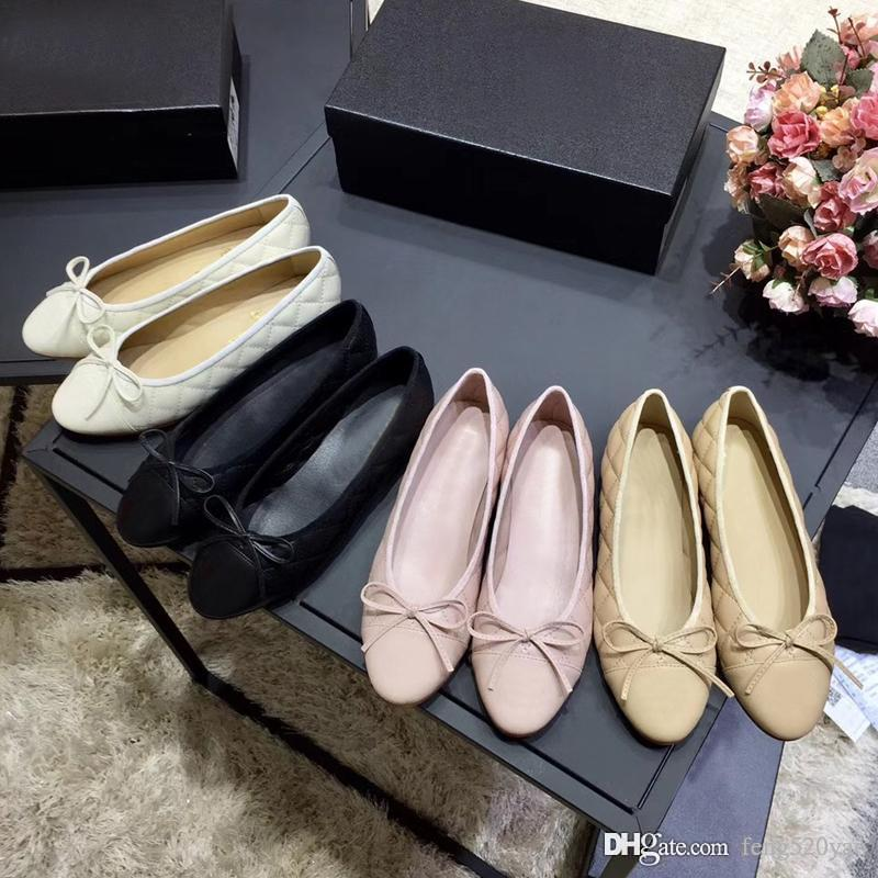 woman Dress shoes Designer Genuine soft Leather Rhombic Ladies Bow Shoes luxury Letter Classic woman Sheepskin Flat boat shoes size 34-42