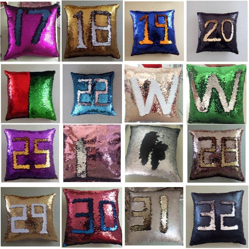 Cambiando reversible 40x40cm colorido Decoración cojines del sofá de la cubierta de la sirena de las lentejuelas Cojín mágico colorido Throw Pillow caso DH0420