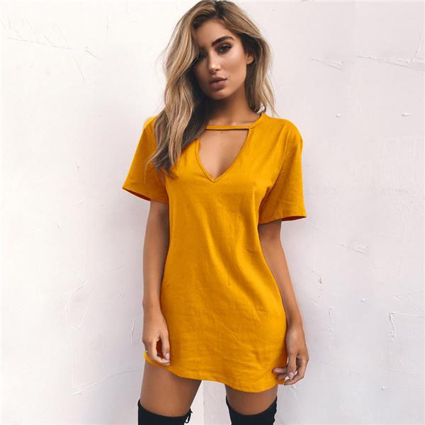 Желтые женские летние футболки 2019 года свободного покроя с коротким рукавом футболки Сексуальная футболка с v-образным вырезом из хлопка Femme Женские длинные топы плюс размер 3XL