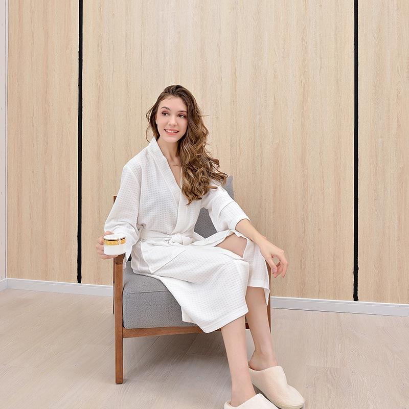 AR6jk вафельного Халат летние мужские и сорочка средней длиной в стиле семь четверти Корейского рукав Весна халат пижама женских aZ7Eg супруги