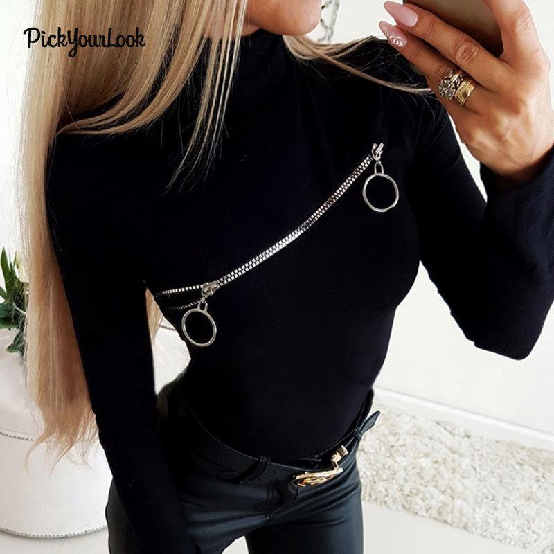 Pickyourlook Kadınlar Tişört Ve Uzun Kollu Fermuar Seksi Kadın Tee Gömlek Katı Siyah Standı Yaka Bayan Tişört Sonbahar Y200109 Tops