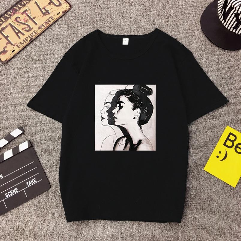 Nave de la gota de las mujeres de impresión camiseta de manga corta Tops manera femenino flojo que basa la camisa de tes Nv165 P