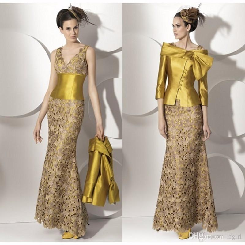 Großhandel Elegante Mutter Der Braut Spitze Kleider Spezielle Muster Zweiteilige Lange Mutter Kleider Goldene Schärpe Hochzeit Party Kleider Für Mama
