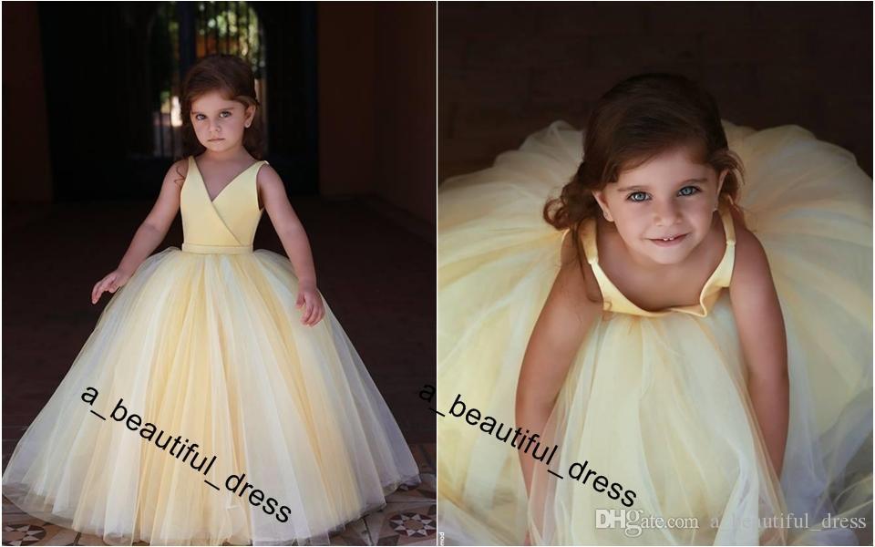 Cute Light Yellow Flower Girls Dresses For Weddings Princess Sleeveless v-Neck Floor Length Little Kids Holy First Communion Dresses FG1239