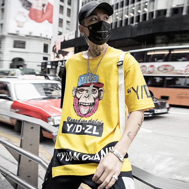 2019 verano nuevas mangas originales de cinco puntos hip-hop mono cabeza letra impresión hombres contraste color manga corta camiseta