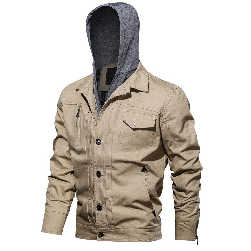 Giacche da uomo bello Moda Primavera Solido Jacket cappotti da uomo con cappuccio Outwear tattico traspirante Outerdoor Soprabito