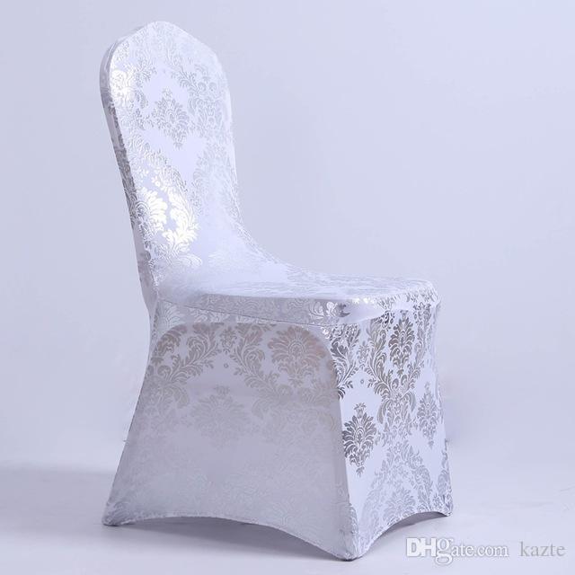 Mode brillant paillettes Universal Stretch Spandex Housses de chaise pour les mariages Banquet Party Décoration Accessoires Élégant De Mariage Couvre-Chaises