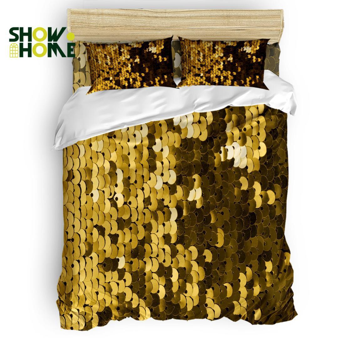SHOWHOME Capa de Edredão Lantejoulas Douradas Dança PartyDuvet Cover Set 4 Peça Conjunto de Cama Para Camas