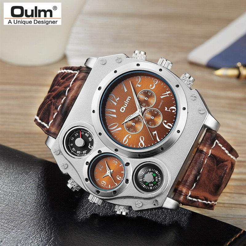 New Model Oulm Watch Men Quartz Sports Leather Strap Watches Fashion Male Military Wristwatch Fashion Clock Masculino Relojes Y19051703
