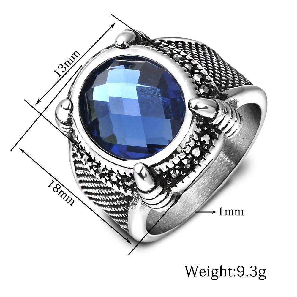 Designer personnalisé Hommes Anneaux en pierre bleue de mariage en cristal en acier inoxydable Anneaux pour 18mm Large Anneaux Bijoux taille7 à 12