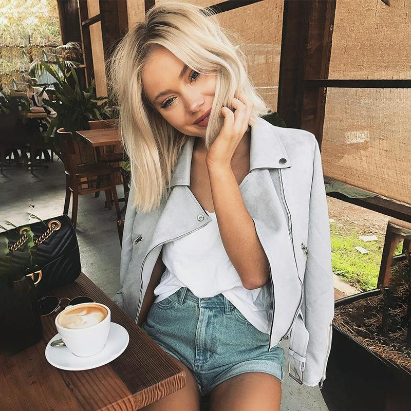 2019 Fashion Top Quality Suede Fabric Light-Pink Sky-Blue Grey Light-Tan Jacket Elegant Women Zipper Sexy High Wqist Vestidos