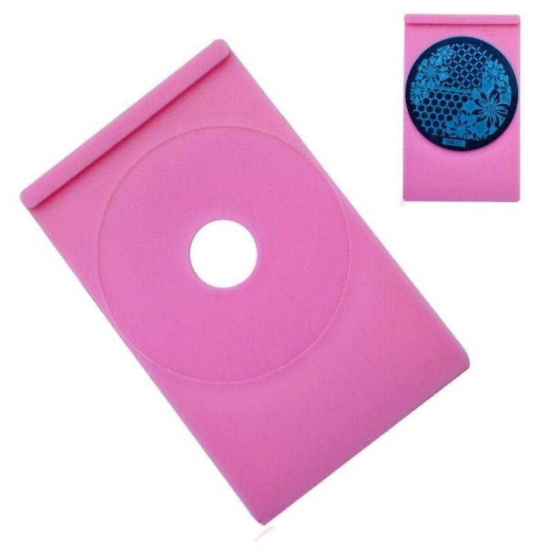 5 pcs Rodada Nail Art Stamp Estande Titular Placa de Imagem para 5.5 cm Prego Stamping Template Manicure Ferramentas