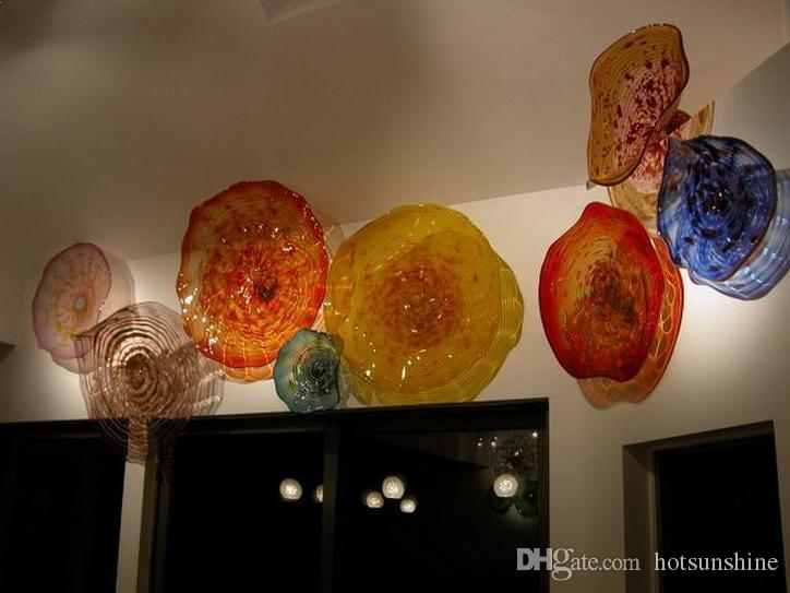 Красивые стены искусства украшения Красочные выдувные Планшеты стекла ручной работы Главная Декоративные Murano Цветок из стекла для декора стен