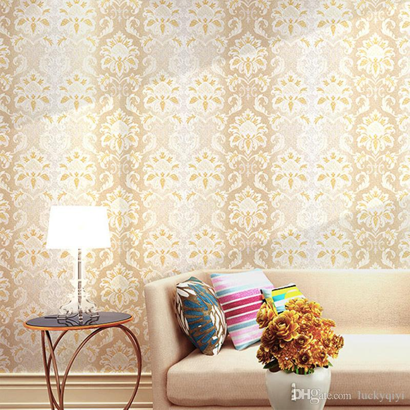 Europe Damascus 3D embossed royal decorative pattern wallpaper roll non-woven home decorating living room bedroom furniture TV bed backdrop