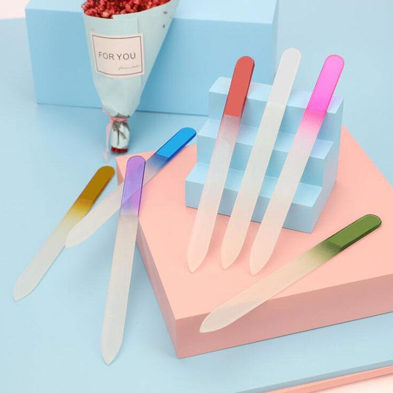 Ventas al por mayor 14cm Gradiente mixta clavo del color doble lados del vidrio cristalino del archivo profesional del clavo de DIY pulido de herramientas