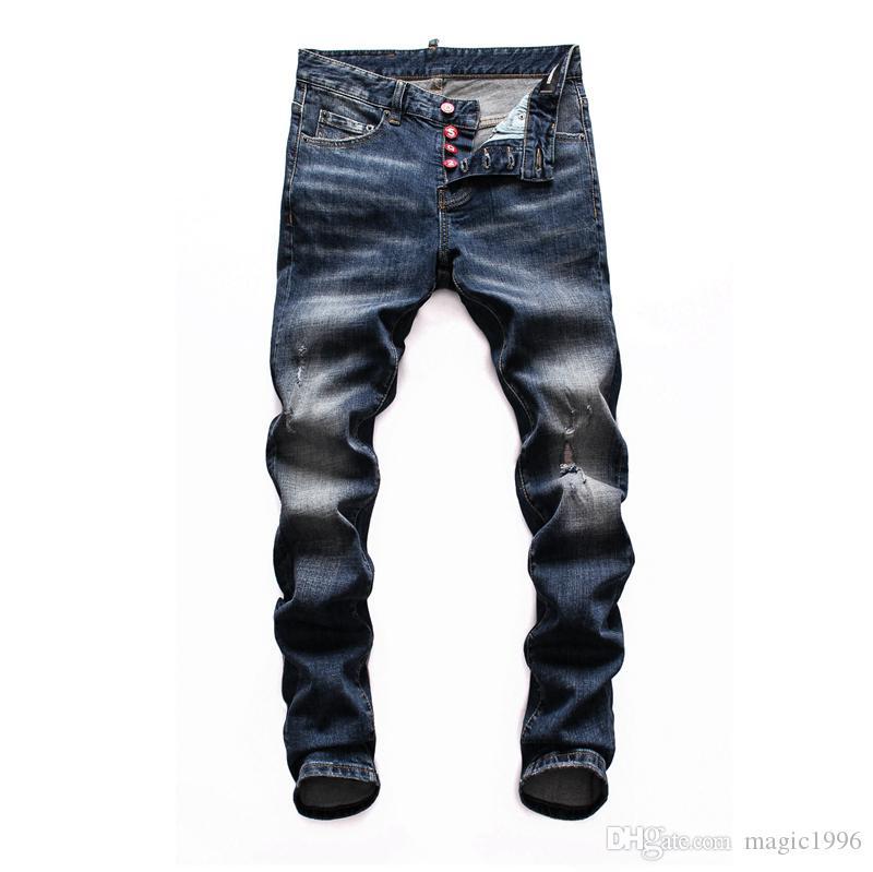 2019 2020 Designer Hot Jeans trou de hanche de personnalité de la mode Homme Jeans Hommes Hop trou Hommes Jeans trou coton de qualité Tanin WX5