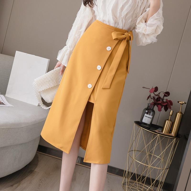 Saias 2021 Primavera verão cintura alta saia coreana elegante lápis Midi Chic faixas de botão Blue Wrap Feminino