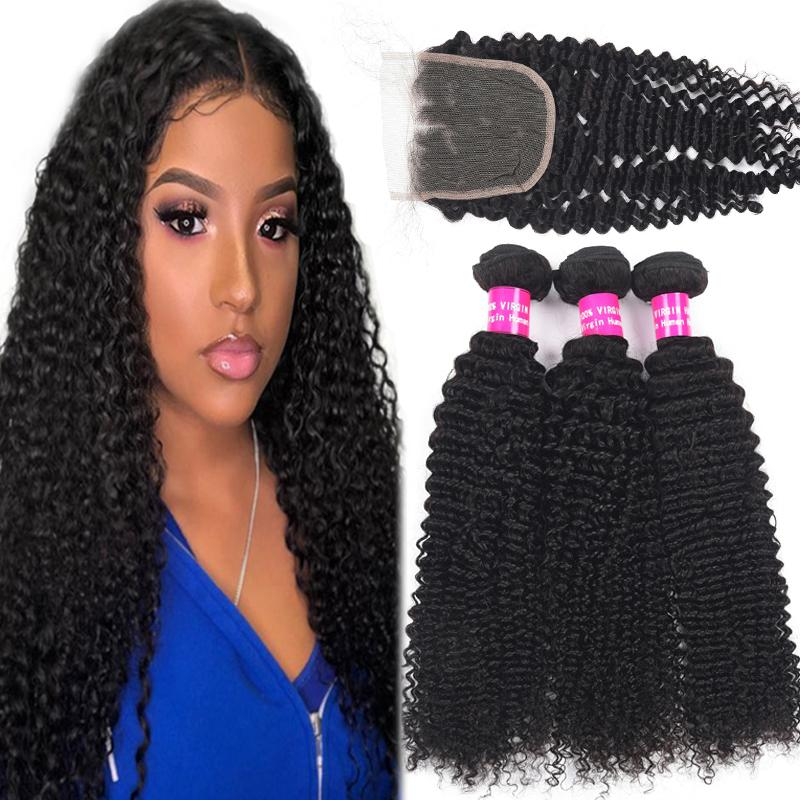 8A Remy Brésilien Human Bundles cheveux avec fermeture 100% Vierge Cheveux brésiliens péruviens non transformés Malaisien Mongol avec fermeture