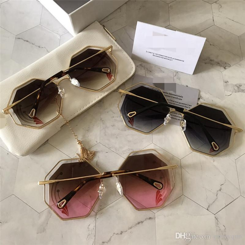 Fashion Round Sunglasses Big Frame Sunglasses for Women Polygon Oversized Sunglasses Brand Retro Cateye Sun Glass CE132S with Original Box