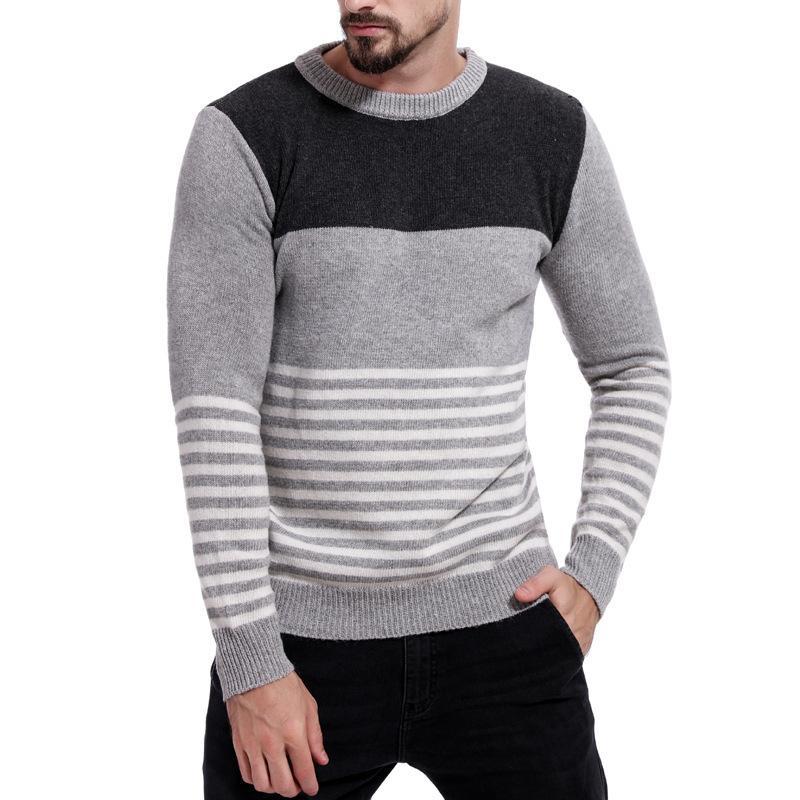 Herren Woll Pullover Herbst-Winter-warme starke O-Ansatz Patchwork Slim Fit Kleidung beiläufige Baumwolle Fashion Male Pullover Gestrickte