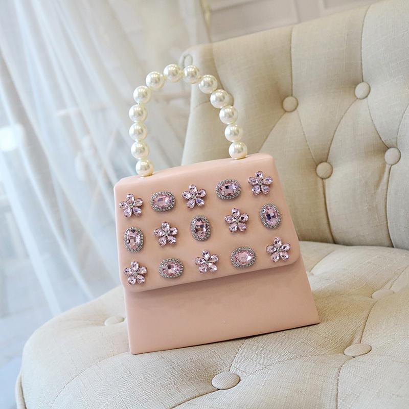 Le donne della borsa di modo perla Tring Top-handle a tracolla in pelle di cristallo strass in rilievo coperchio frizione borsa della signora High-end PU Bag