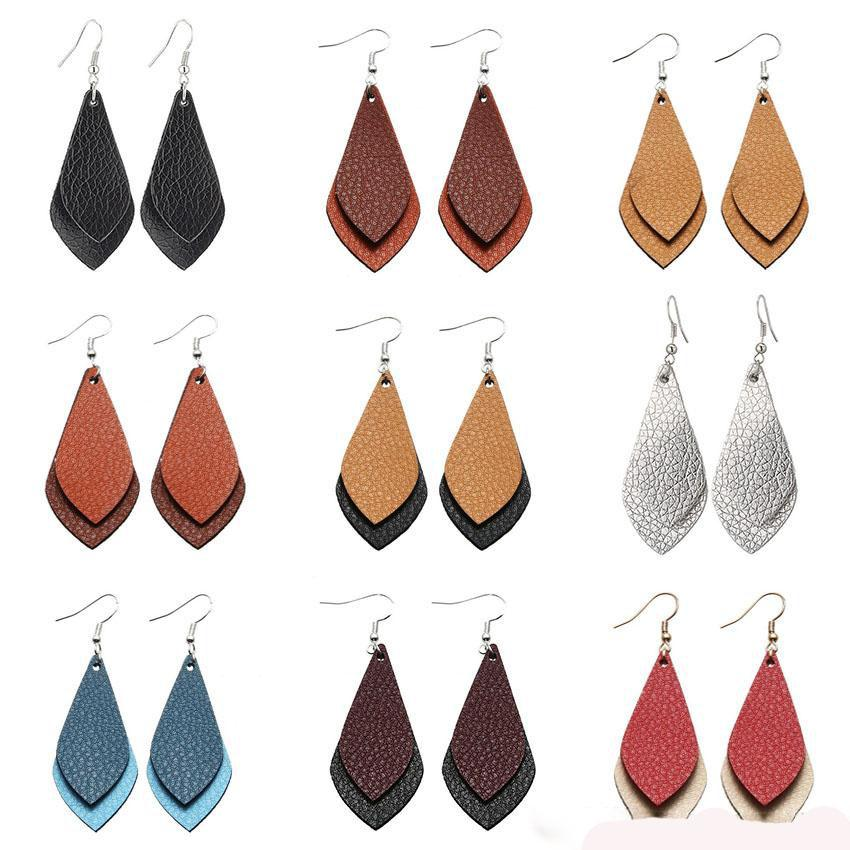 Moda Handmade DIY PU Leather Waterdrop pingente de multicamada folhas Gotas Teardrop Ear Hook Eardrop Brinco Para Mulheres Jóias