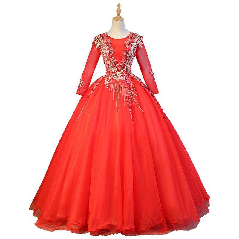 bordado de manga larga rojo real abalorios rococó vestido medieval vestido renacentista vestido de princesa Sissi vestido victoriano / Marie / Belle / vestido de bola.